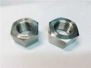 No.76 Dubleks 2205 F53 1.4410 S32750 paslanmaz çelik bağlantı elemanları ağır altıgen somun