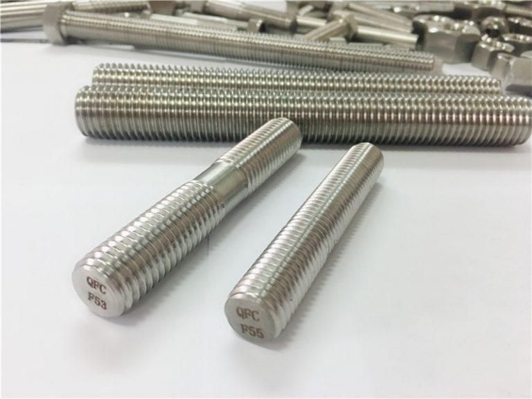 özel otomatik işlenmiş paslanmaz çelik bağlantı elemanları çift uç dişli çubuk